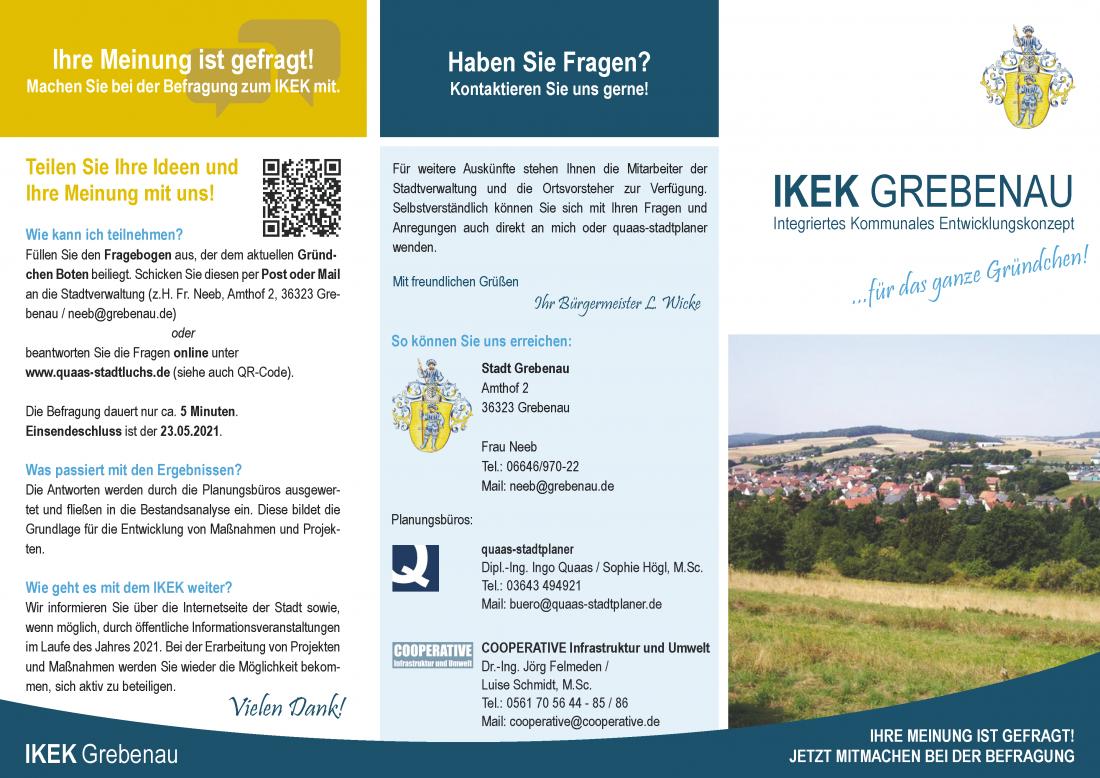 IKEK Intergriertes Kommunales Entwicklungskonzept Grebenau Hessen Flyer Bürgerbeteiligung quaas stadtplaner Dorfentwicklung